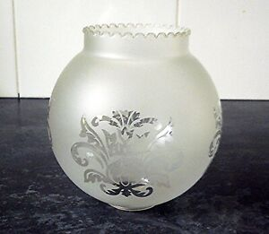 Antique Victorian Glass Acid Etched Glass Oil Lamp Shade Multi-Buy Available