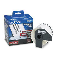 """Brother Continuous Paper Label Tape 2.4"""" x 100ft Roll White DK2205"""