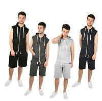 Mens Boys Gilet Full Tracksuit Sleeveless Hoodie Shorts Gym Sweatshirt Size S-XL