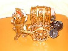 Vintage Ceramic Cowboy Western Horse Covered Wagon DECANTER 4 Whiskey Shot Mugs