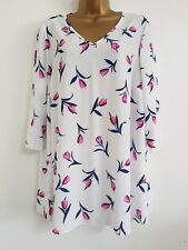 NEW Yours Plus Size 16-32 Tulip Print Sparkly Embellished White Pink Top Blouse