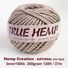 TRUE HEMP big ball - NATURAL(no dye) 3mm /100lb -HempCreation 120feet/ 37m 200gr