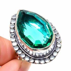 Green Amethyst Gemstone Handmade Ethnic 925 Silver Jewelry Ring Size 8.5