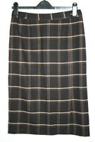 Marks&Spencer Woman's Brown Mix Checked Wool Blend Straight Pencil Skirt Size 12