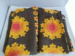 Vintage Groovy Barkcloth Curtain Panels Brown Yellow/Orange Flowers Set of 2