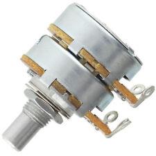 "Alpha Dual 8mm Bushing Potentiometer, 500KA Linear 1/4"" solid shaft solder tabs"