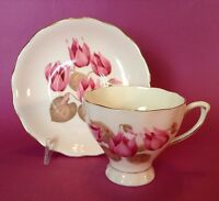 Colclough Pedestal Tea Cup And Saucer - Pale Pink - Water Lily Pattern - England