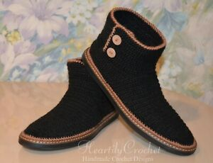 Men's wool crochet boots for the street, outdoor handmade shoes, slippers