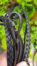 """Plaited showing Reins 5/8"""" Pony length 49"""" Dark Brown 100% English Made HERITAGE"""