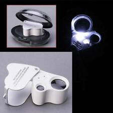 60X 30X Pocket Magnifier Jewellers Eye Glass Lens Magnifying Loupe w/ LED Light
