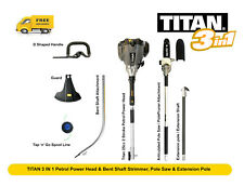 TITAN 3 IN 1 Petrol Power Head & Bent Shaft Strimmer, Pole Saw & Extension Pole