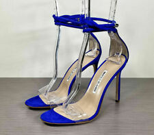Manolo Blahnik Estro Ankle Tie Sandal, Blue Suede, Womens Size 9 / 39