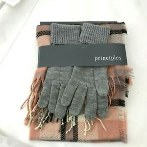"""BNWT Principles Pink Check Fringed Scarf Shawl Wrap 36"""" x 20"""" inches & Gloves"""