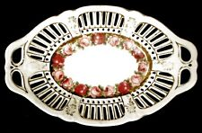 VINTAGE PIERCED RIM HAND PAINTED HANDLED OVAL BOWL w/FLOWERS & GOLD UNMARKED