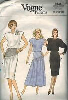 9836 Vintage Vogue Sewing Pattern Misses Loose Fitting Blouson Bodice Dress OOP