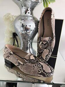 Ladies Massimo Dutti Sz 6 Smart Flat Loafer Shoes Leather Snake Designer