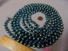"Christmas Garland Mercury Glass Blue 90"" Long 3/8"" Beads #D343 Vintage"
