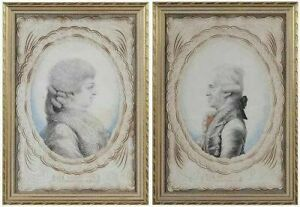 Pair of calligraphic watercolor portraits of a French couple signed dated 1791