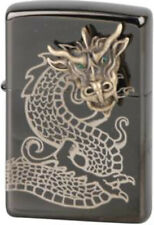 Zippo Orig. Feuerzeug Regular / Ebony / 3seitig gelasert / Golden Dragon Head