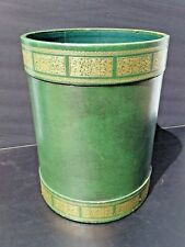 Vintage Round Green with Gold Tooled Leather Waste Paper Basket Trash Can Italy?