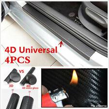 4 X Black 4D Carbon Fiber Look Car Door Sill Scuff Anti-Scratch Protector Decals