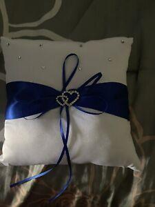 Ring Bearer Pillow Royal Blue/White