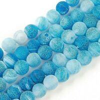 Agate 8mm Beads Natural Weathered Frosted Blue 1 Strand Approx 46 Pieces