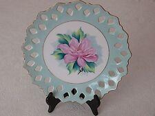 Vintage Collector Light Blue Porcelain Plate Gold Trimmed Diamond Cut Gardenia