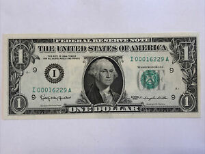 1963 $1 US Federal Reserve One Note Banknote FRN LOW 16K Serial Number NON-Star