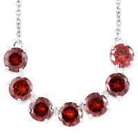 """Gift Jewelry for Women 925 Sterling Silver Cubic Zirconia CZ Garnet Necklace 18"""""""