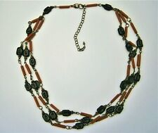J168:) Vintage black & red faux coral glass bead 3 tier stranded necklace