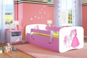 Kinderbett Juniorbett 180x80 Rosa Mädchen und Junge mit Lattenrost und Schublade