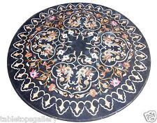 3'x3' Black Marble Dining Coffee Table Top Rare Marquetry Inlay Home Decor H1524