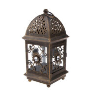 Antique Wrought Iron Candle Holder Lantern Candlestick Indoor Outdoor Decor