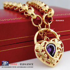 18k yellow gold GF belcher ring heart padlock lab amethyst solid bracelet bangle