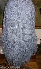 ANNA SUI Silk SKIRT Blue Knit Crochet Fringes Lace Jupe 6 *TOP MODEL* RUNWAY EXC