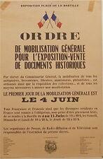 Affiche Ordre mobilisation documents historiques Commissariat Général P 712