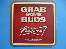"Beer Pub Coaster ~*~ BUDWEISER ""Grab Some Buds"" 2012 Viewfest MLS Sports BeerMat"