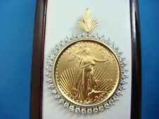1/2 0Z FINE GOLD 25 DOLLARS LIBERTY COIN WITH DIAMOND FRAME 23.3 GRAMS