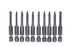 """4 mm Slotted 1/4"""" Hex Insert Bit S2 Steel 50mm Long Pack of 10 ASTA A-12222"""
