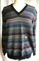 Lyle & Scott Mens Size L Large V Neck Sweater 100% Combed Cotton Multi Stripped