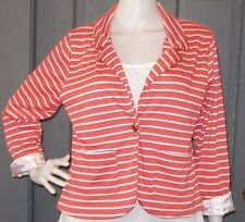 GRASS COLLECTION juniors CORAL white striped blazer L single button knit EUC