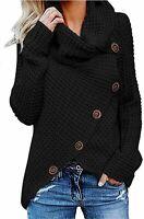Kidsform Women's Chunky Turtle Cowl Neck Button Sweater, A-black, Size Medium kk