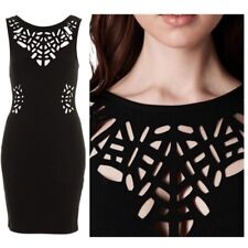 Topshop Black Laser Cut Out Cleavage & Bodycon Dress