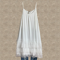 Plus Boho Triple Lace Vintage Hippie Tunic Top Extender Slip White XL 1XL 2XL
