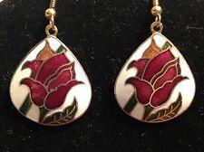 Cloisonne Gold-tone Hook TearDrop Pierced Floral earrings 1 3/4in X 1 in