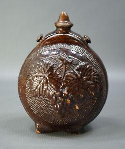 1850s Ottoman Empire Canakkale Glaze Pottery Ceramic Canteen Flask Bottle Grapes