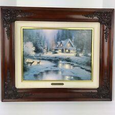 Thomas Kinkade Christmas Cottage VI Deer Creek Cottage Canvas Litho Brandy Frame