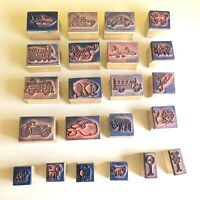 Lot Of 22 Animals & Cars Wood Block Rubber Stamps Crafts Cards Stamping