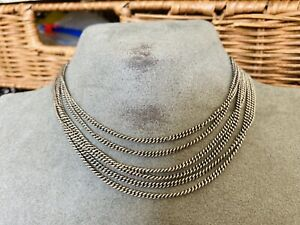 ANTIQUE VICTORIAN SILVER LONG GUARD / MUFF CHAIN 140 CM LONG RARE COLLECTIBLE